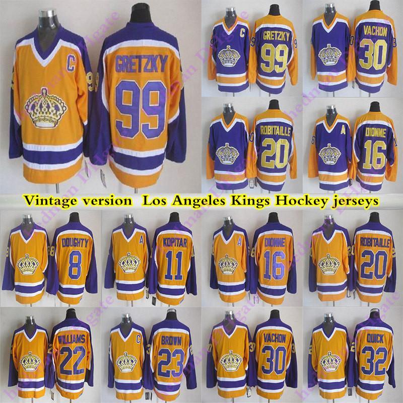 Versión camisetas de Los Ángeles Reyes Vintage hombres de 99 Gretzky 16 DIONNE 8 DOUGHTY 11KOPITAR 32 RÁPIDO 23 Browen 22 WILLIAMS CCM Jersey del hockey