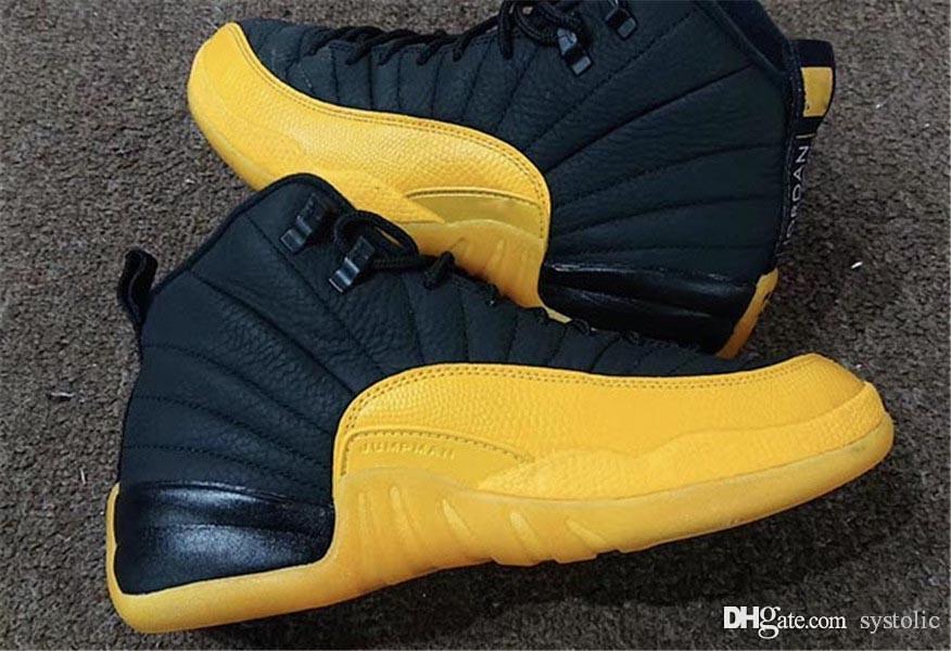2020 Migliori 12 pattini autentici Università oro reale in fibra di carbonio 12S di pallacanestro degli uomini scarpe da ginnastica nere oro giallo Retro sport con la scatola