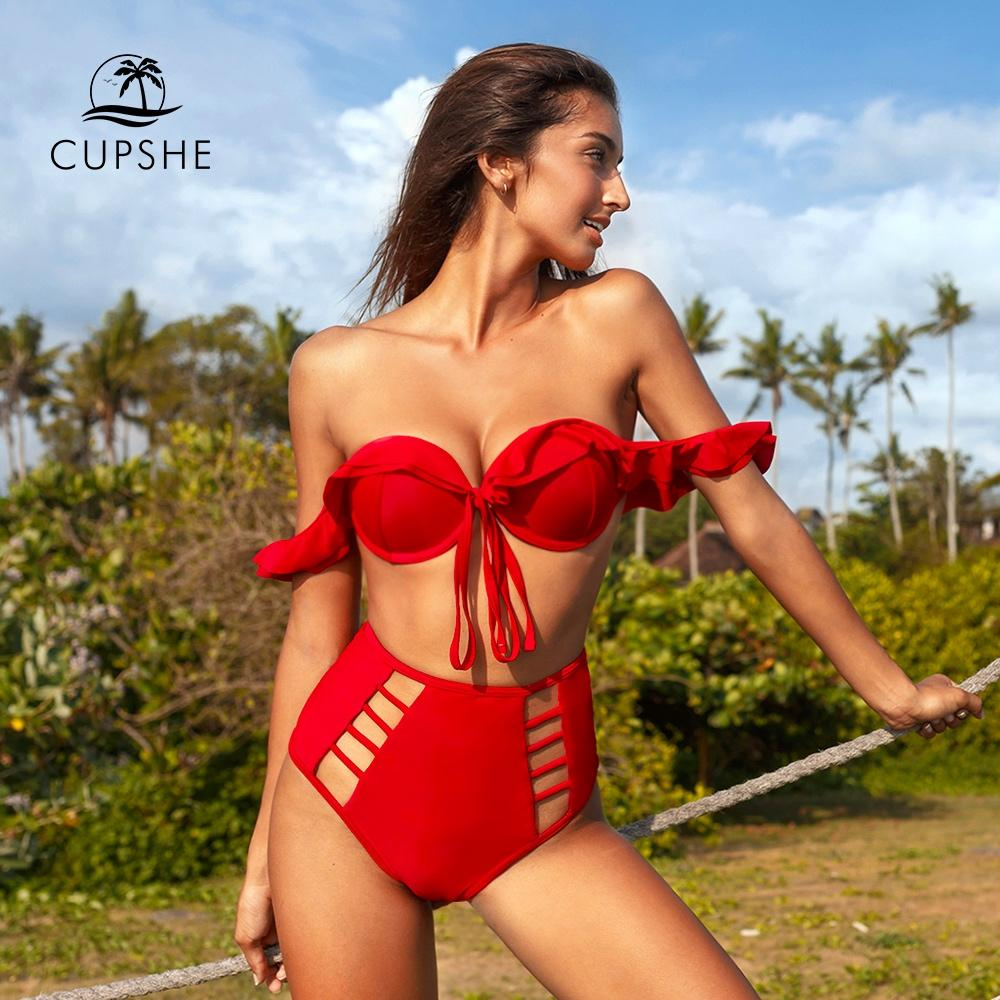 2020 CUPSHE Solid Red Ruffle High