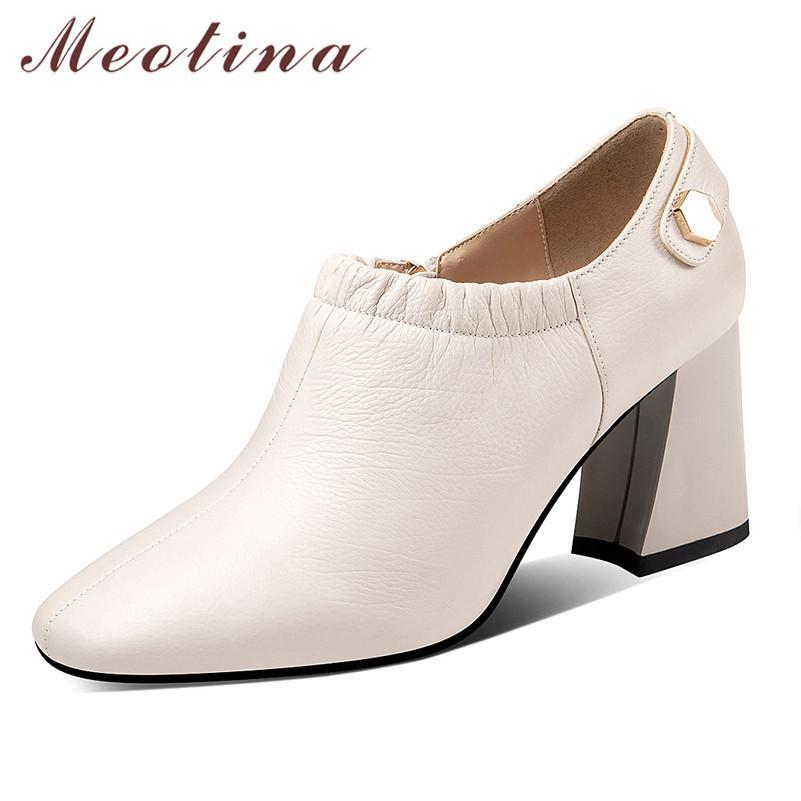 Meotina Tacchi alti Donne Pumps cuoio genuino naturale Chunky alti calza vera pelle con zip Scarpe a punta Square Lady Autunno 39