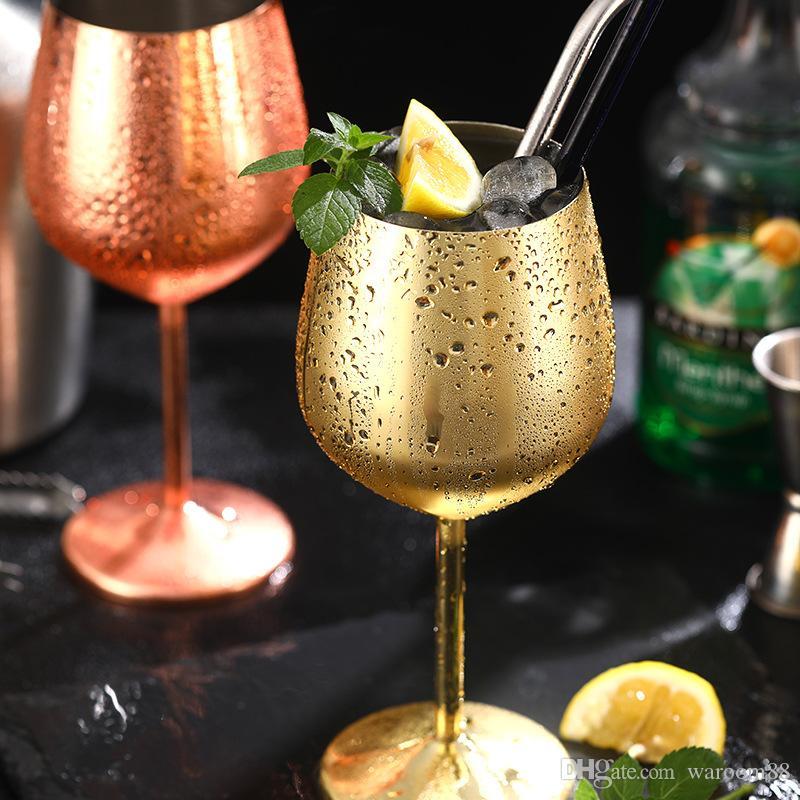 레드 와인 잔 잔 실버 로즈 골드 304 스테인레스 스틸 주스 샴페인 잔 파티 기물 홈 식기 용 500ml의 마시는 음료