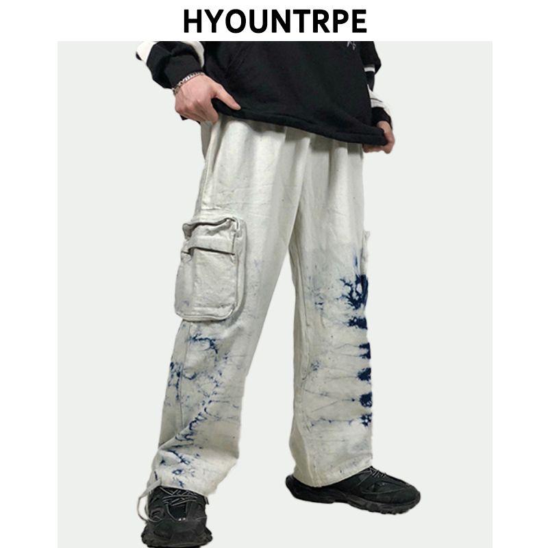 Mens tingido laço Jogger largas pernas da calça Casual bolsos laterais soltas Fit Calças elástico na cintura Homens Streetwear Hip Hop soltas Jeans