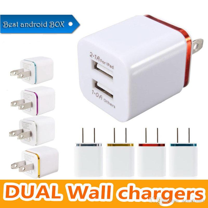 Ship in One Day ! Metal Dual USB wall Charging Charger US EU Plug 2.1A AC Power Adapter Wall Charger for Iphone Samsung
