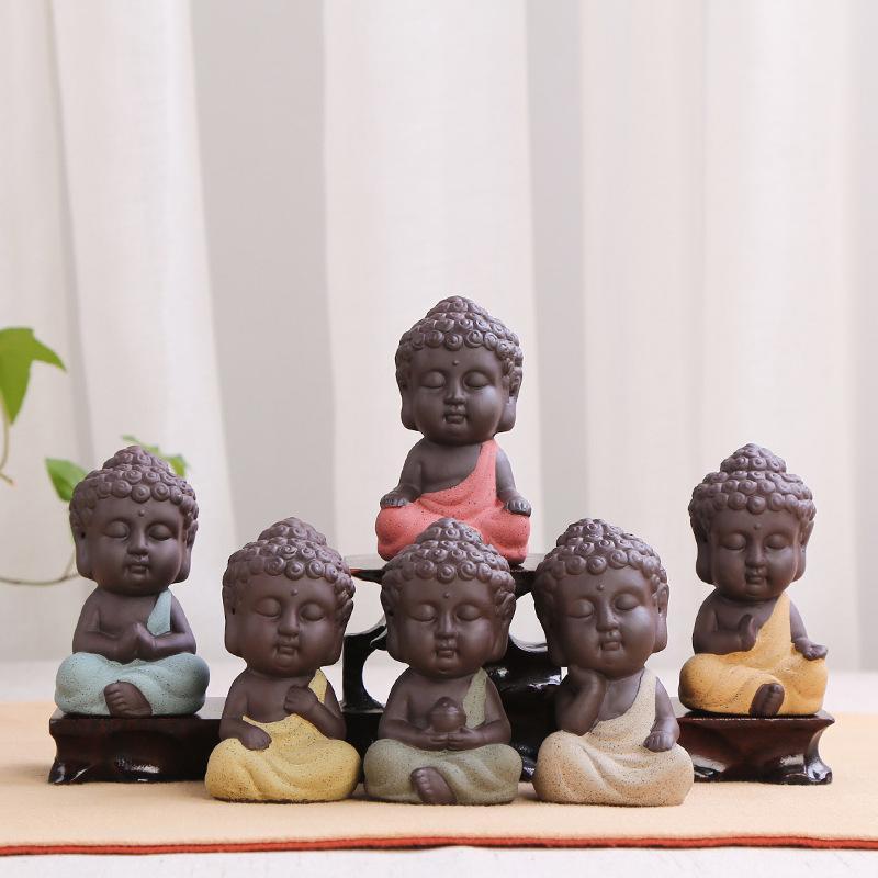 Home Decor Tee Set Kleine Buddha Statue Mönch Lila Sand Keramik Figur Kunst Harz Handwerk Fleischige Ornament Reine Handarbeit 4 5lr jj