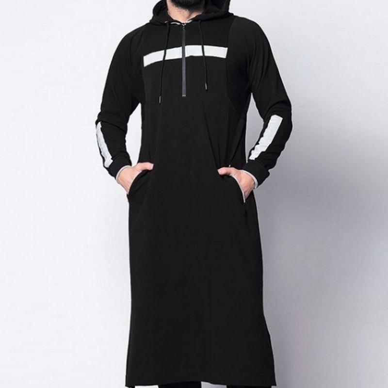 Litthing 2019 новый мужской мусульманский арабский ремень полная длина с капюшоном кафтан традиционный мусульманский Абая Исламская мужская повседневная одежда