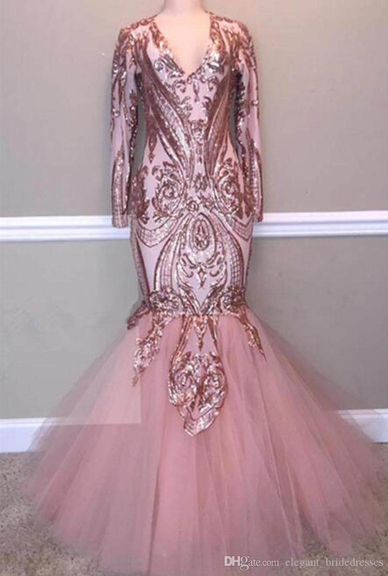 2019 Real Picture Black Girl Long Prom Dress V-neck Long Sleeve Sequin Top Pink Mermaid Graduation Dresses
