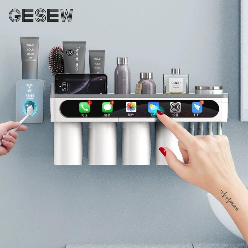 GESEW Diş Fırçası Tutucu Kuvvetli Adsorpsiyon Manyetik Kupası Su geçirmez Ücretsiz delme Diş Fırçası Ev Çerçeve Banyo Aksesuar Seti