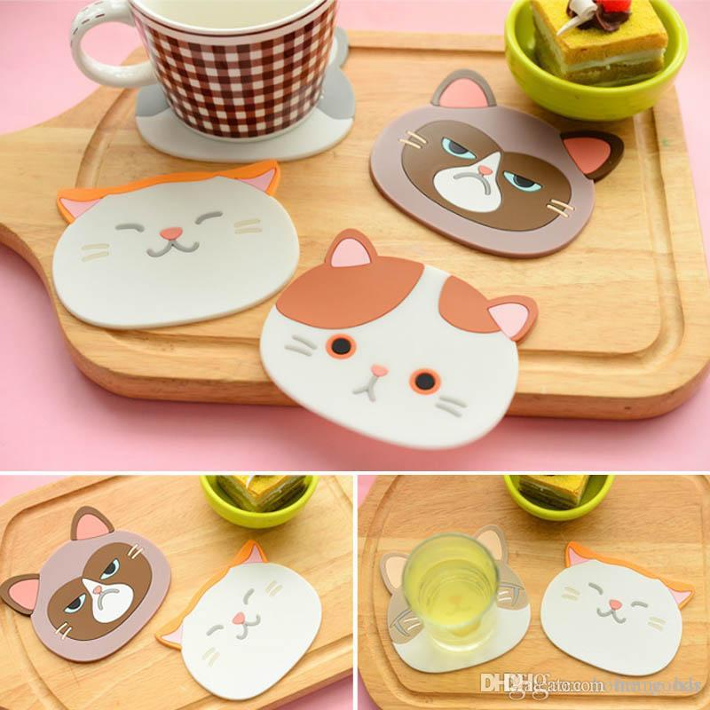 Cat Pattern Silicone Insulation Placemat Cup Bowl Mat Home Decor 6A