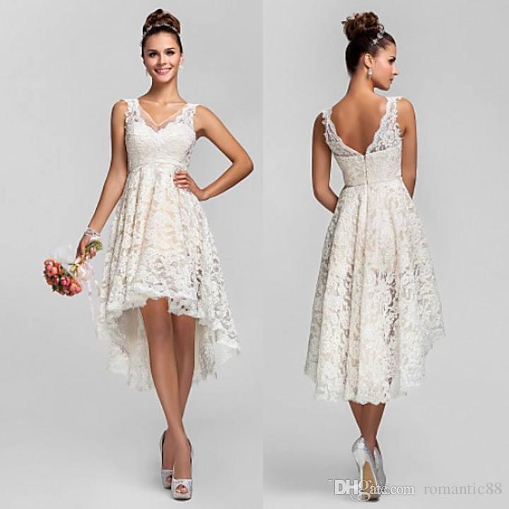 Короткие кружевные свадебные платья с V образным вырезом Backless линия High Low Hot сшитое по Очаровательная Beach Garden Ivory Свадебные платья