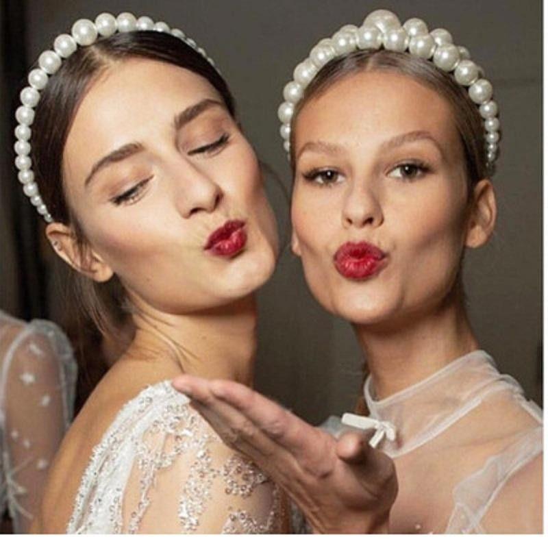 İmitasyon İnci Saç Hoop Tasarım Trendy Lüks Kadınlar Için Lüks Büyük İnci Bandı Zarif Şapkalar Düğün Takı F0061