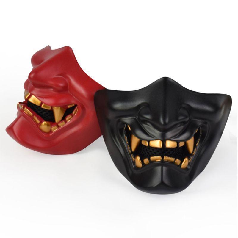 Half Face Mask Cosplay Kabuki Samurai Devil Tactical Halloween Party Festival Prom COS Devil Horror Face