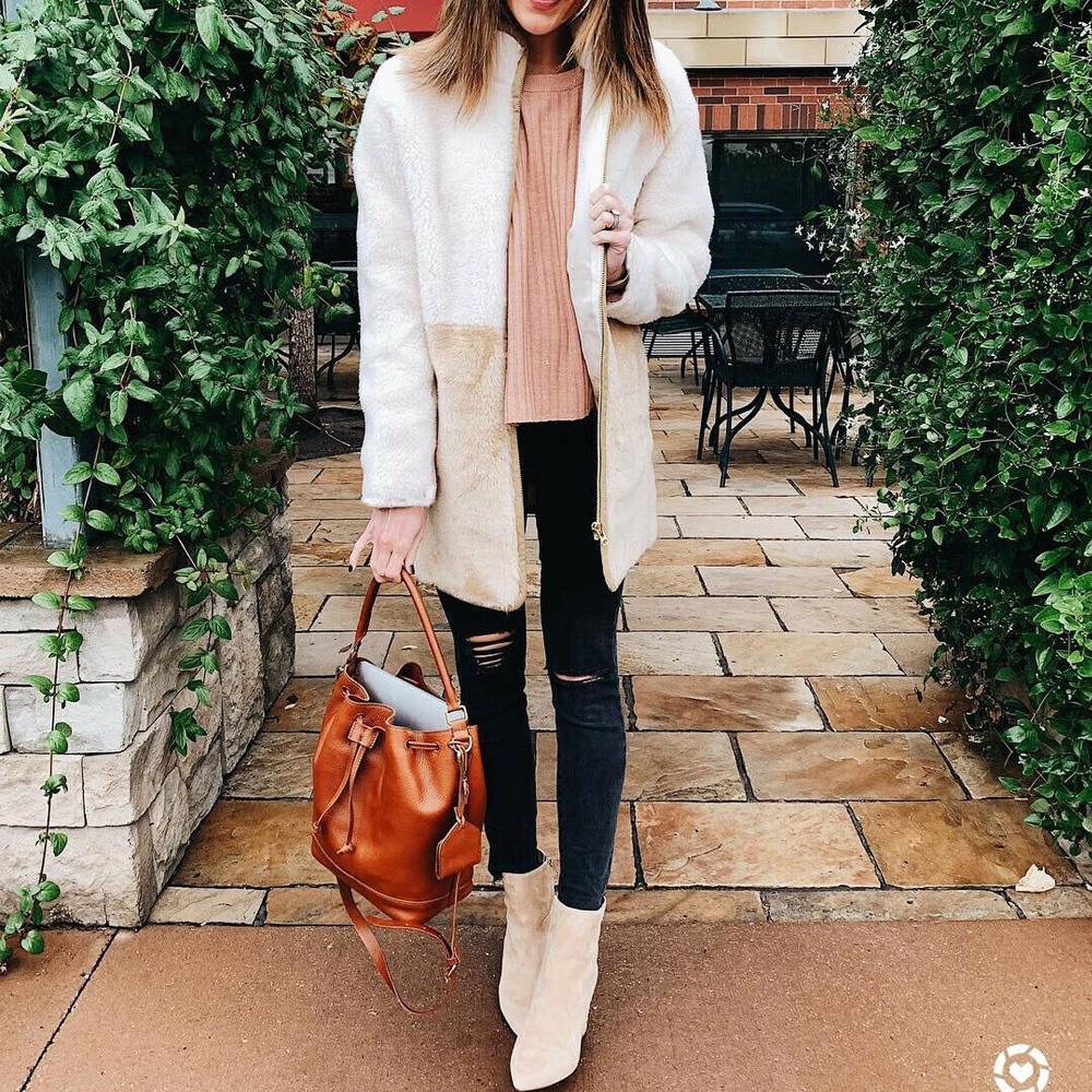 Cálido invierno de las mujeres de manga larga remiendo PrintedKnitted mullido Outwear la chaqueta de punto chaqueta de la capa de bolsillo