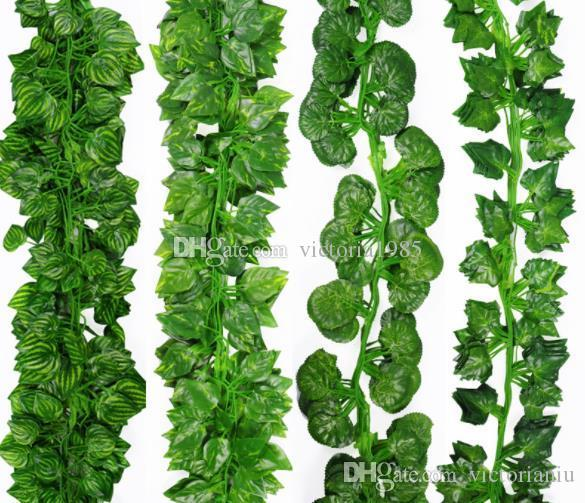 2.1M Artificial Ivy green Leaf Garland Plants Vine Fake Foliage Flowers Home Decor Plastic Artificial Flower Rattan string