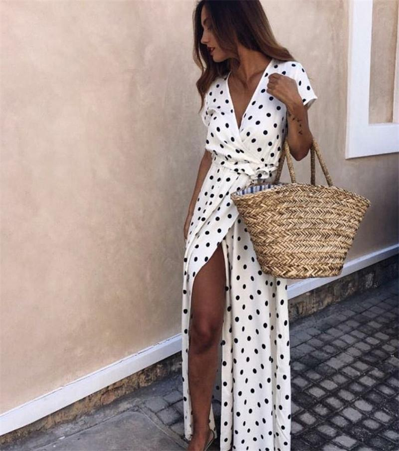 Summer Ladies Beachwears with Sashes Casual Dresses Solid Polka Dot Deep V Female Split Short Sleeve Womens Dresses