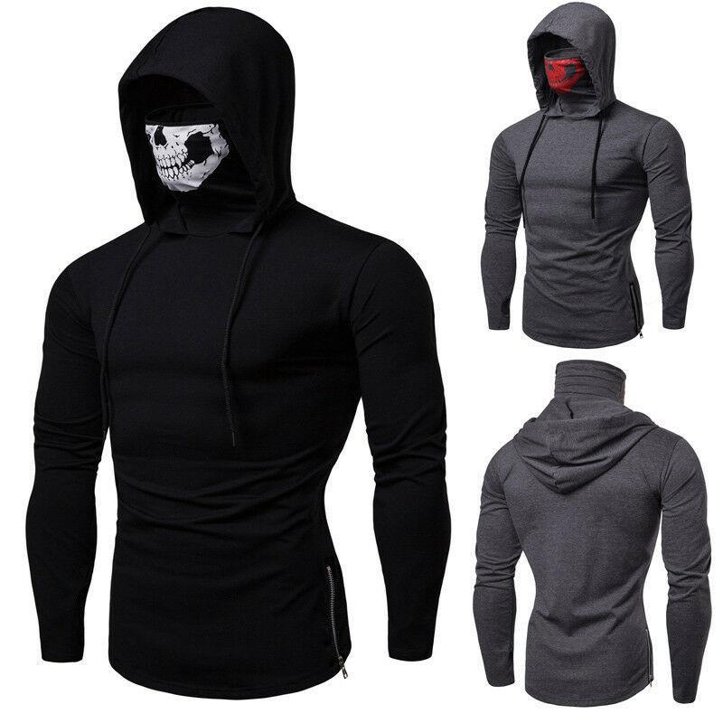 패션 남성의 마스크 해골 후드 풀오버 스웨터 후드 운동복 점퍼 탑스