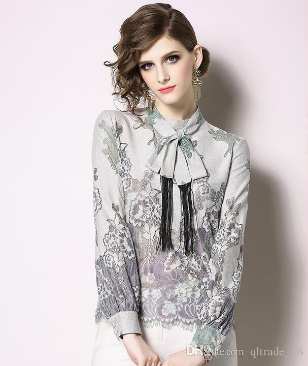Spring new Korean women's long-sleeved shirts lace Linen Blend shirt stand collar Slim fit blouses waist openwork flower tops