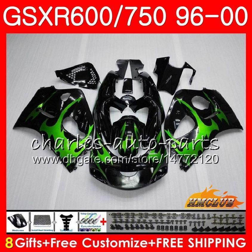스즈키 SRAD GSXR 750 600 GSXR600 GSXR750 96 97 98 99 00 1HC.3 GSXR750 GSXR600 1997 1998 1999 2000 1996 페어링 키트 바디 녹색 불꽃