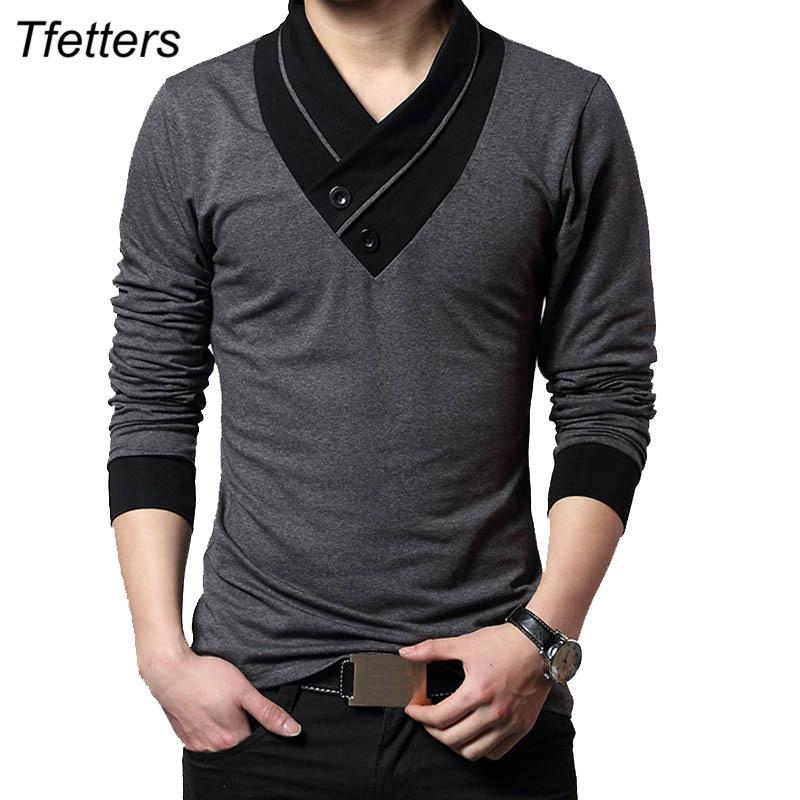 TFETTERS Marka Sonbahar Moda Erkekler tişört Tişört Erkekler Patchwork V-Yaka Uzun Kollu Slim Fit Tişört Pamuk Artı boyutu 4XL T200327