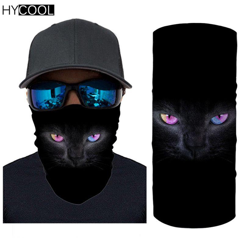 HYCOOL Hot Style Black Cat/Wolf Printed Neck Gaiter Elastic Anti Dust Sun Wind Fashion Scarf Hiking Camping Headband Bandana