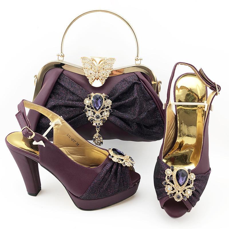 Bombas mulheres D.purple alto grau set jogo bolsa com sapatos de salto cristal decoração africano alto e QSL017 saco, 11CM calcanhar
