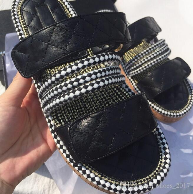 2019 latest luxury thick-bottomed muffin bottom sandals and slippers fashion brand open toe comfortable non-slip wedge female sandals