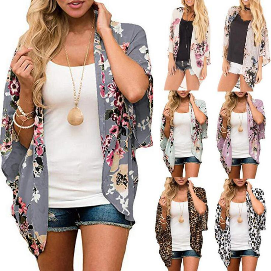 Chiffon Praia Cardigan Verão Mulheres Boho Cover Up Lace Floral Cardigans Digital Impresso Kimono Blusa Chiffon LJJO8130