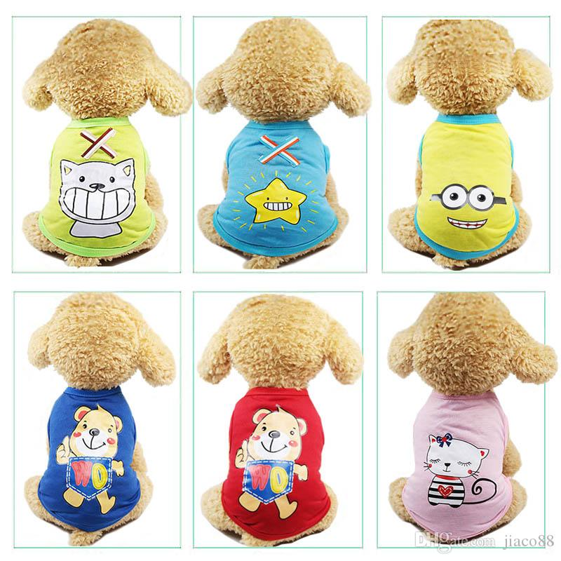 Cute Pet Dog Cat T-shirt Vest Clothes Small Breathable Puppy Soft Coat Jacket Summer Apparel Cartoon Bikini Print Clothing Outfit Pet Suppy