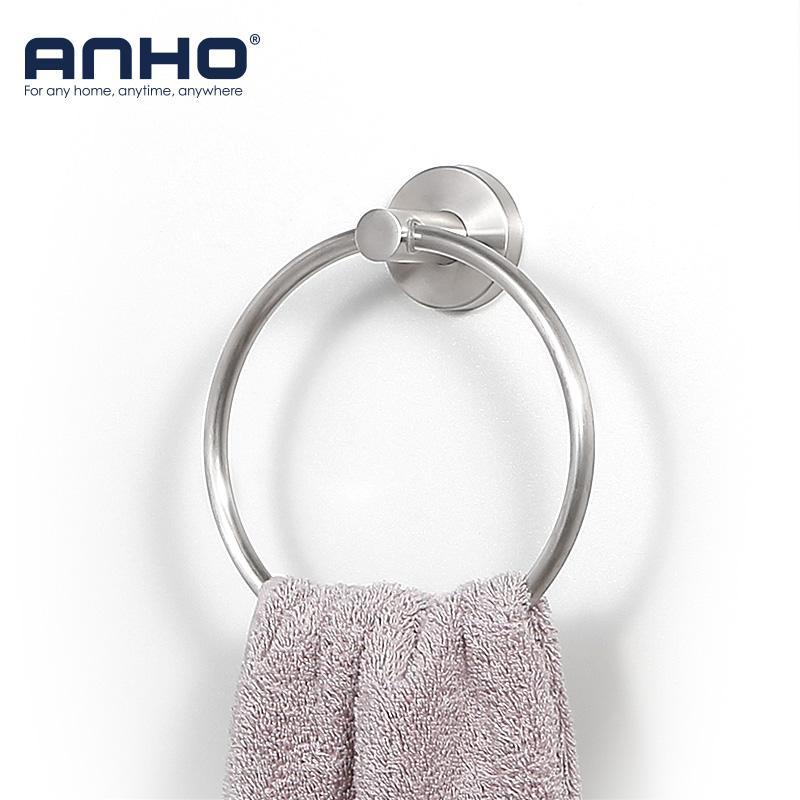 parete in acciaio inox montare asciugamano accessori da bagno anello di tovagliolo rotonda titolare Bagno Rack Hanger