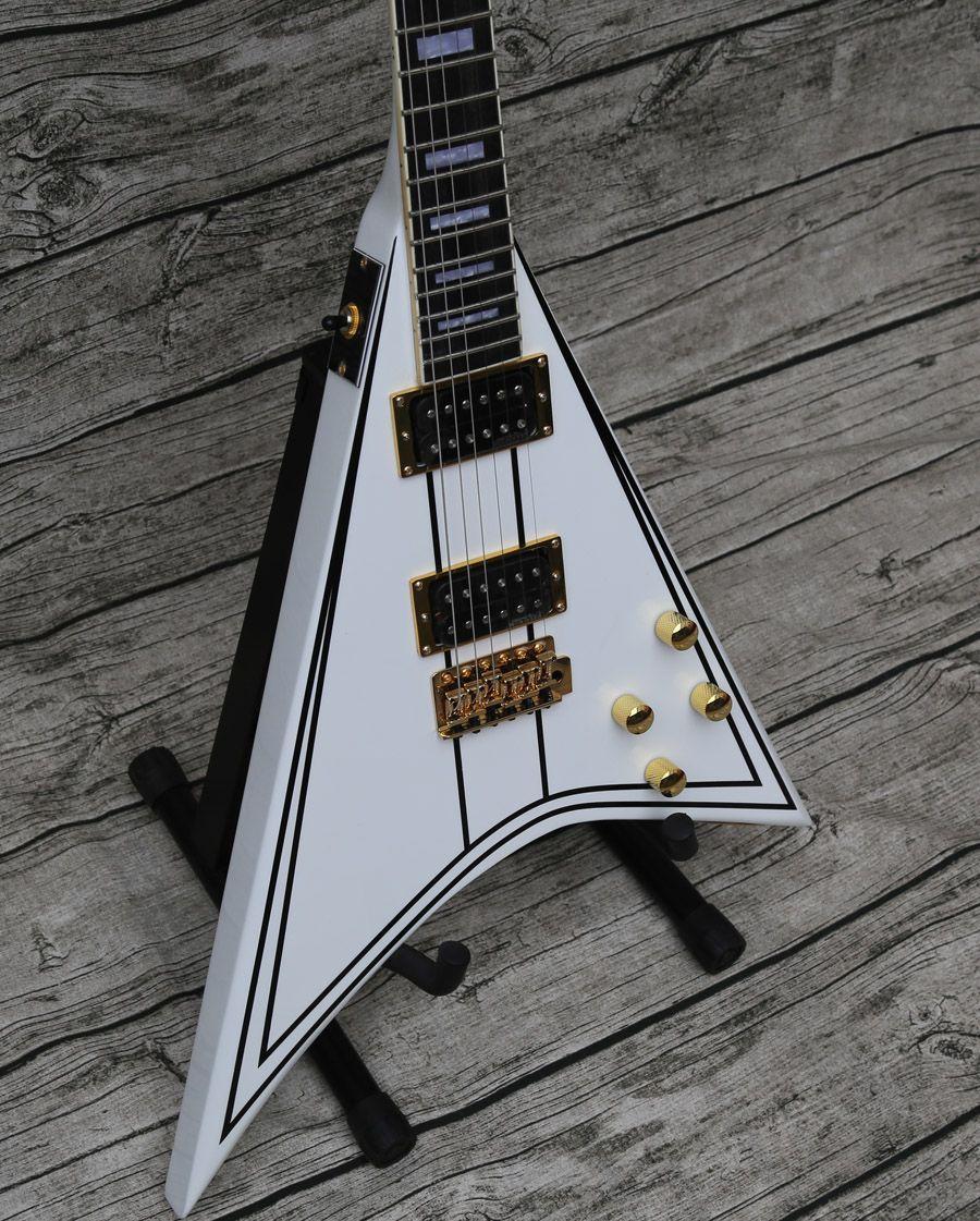 Редкий эксклюзивный randy Rhoads Rr 1 черный PINSTRIPE White Flying V Электрические гитары Золотое оборудование, Блок МП Инл, Tremolo Haultsife