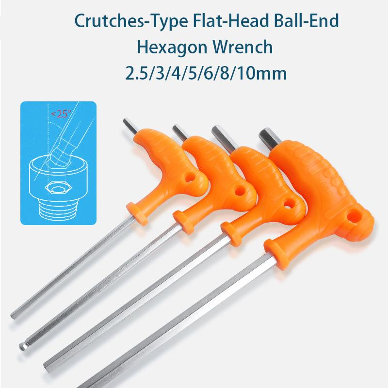 Flat Ball Head Crutch Hex Key Wrench 2.5/3/4/5/6/8mm High-carbon Steel T-Shaped Wrench Inner Hexagon Spanner Hand Tool