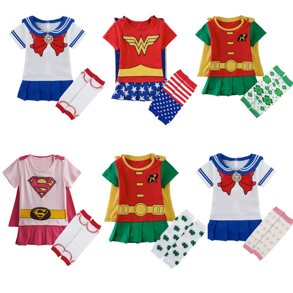 Baby Girl Wonder Woman Costume Rompers with Cape Newborn Robin Girl Bat Girl Playsuits Infant Party Fancy Sailor Moon Dresses LY191228