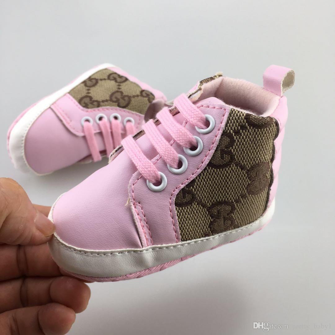 디자이너 봄 가을 아기 신발 신생아 소년 캔버스 레이스 업 워커 신발 유아 프리 워커 신발 0-18Mos