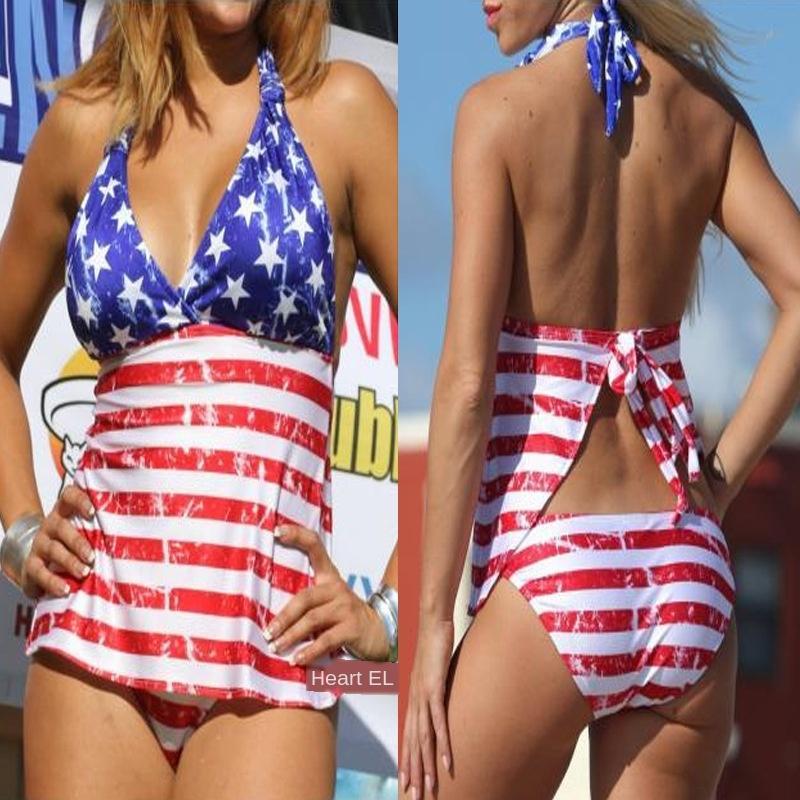 2019 bikini şerit beş yıldızlı Bikini baskılı bölünmüş mayo kadın mayo + mayo