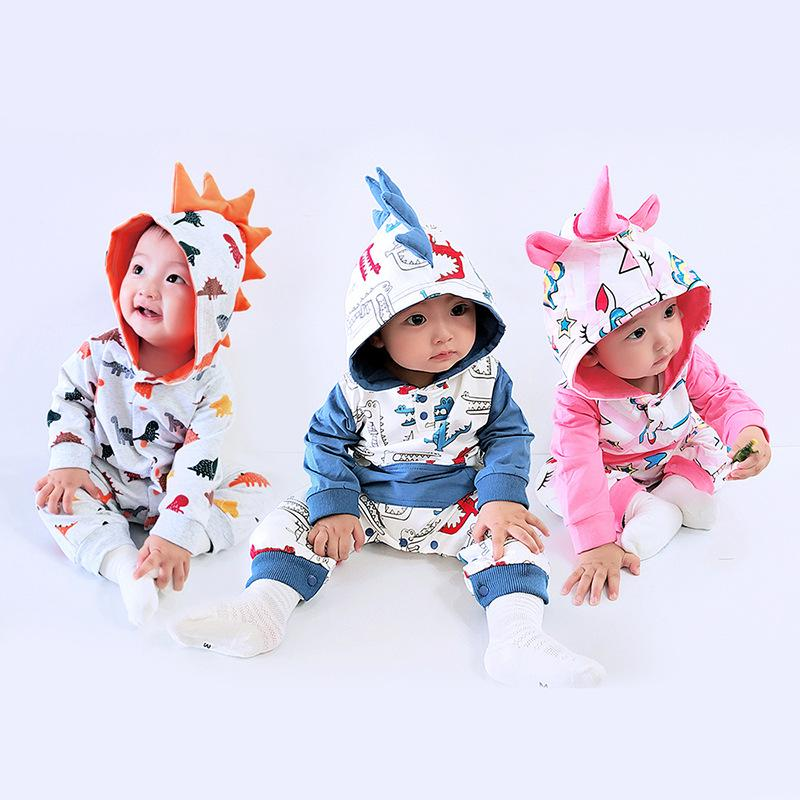 Newbrown Baby Rompers Infant Toddler Long Sleeve Cartoon Dinosaur Printed Jumpsuits Hooded Kids Baby Cotton Rompers Baby Clothes
