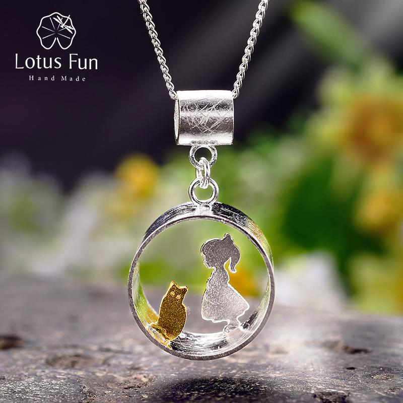 Lotus Fun Real 925 Sterling Silver Creative Handmade Fine Jewelry Meeting Love With Cat Pendant Without Necklace For Women Y19051603