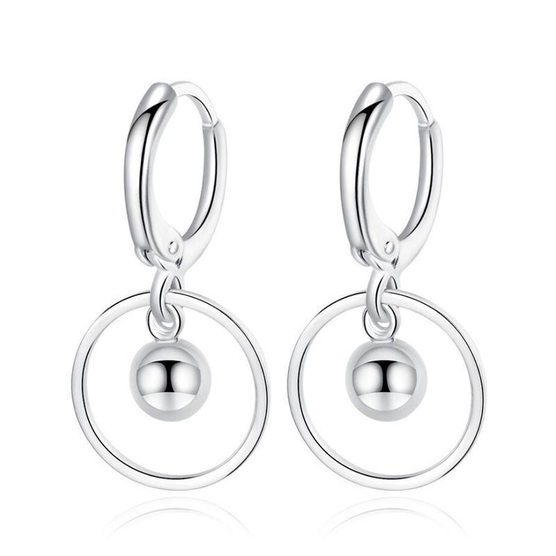 KOFSAC 2020 925 en argent sterling Boucles d'oreilles pour les femmes bijoux à la mode Cercle ronde boucles d'oreilles Lady fiançailles Accessoires de mariage