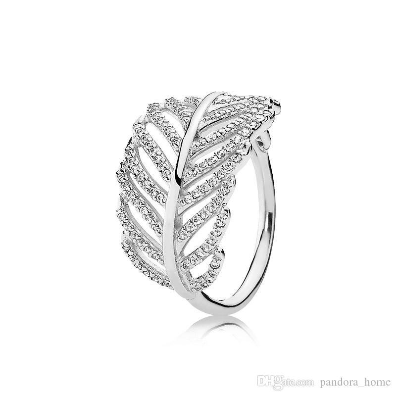 بريق الريشة CZ خاتم الماس فاخر مصمم 925 فضي وردة صندوق مطلية بالذهب للحصول على مجموعة باندورا المرأة أنيقة الطوق هدية العيد