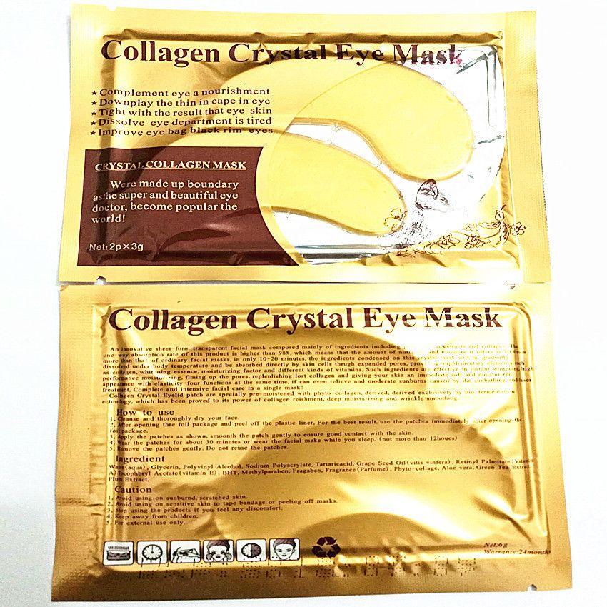 الكولاجين ماكياج العين قناع تحسين كيس العين السوداء عيون حافة الكريستال الكولاجين الذهب مستحضرات التجميل والعناية مسحوق العين دي إتش إل الحرة