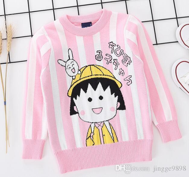 Осень и зима новых Kids'Dress девочек Вертикальная полоса Girls'Double жаккарда Утолщенные Трикотажные рубашки Детские Пуловеры