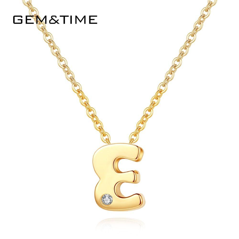 GemTime اسم الأحرف الأولى 14K الذهب 585 المختنق قلادة رسائل ريال الذهب قلادة قلادة للنساء خطوبة مجوهرات هدية N14102