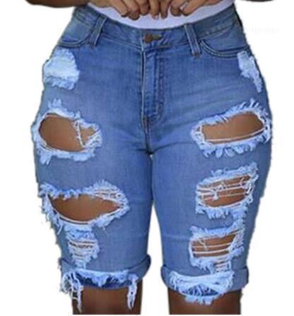SBermuda Short Jeans pantaloni con piena estate vita delle donne Solid skinny Shorts Hole Leggings Moda