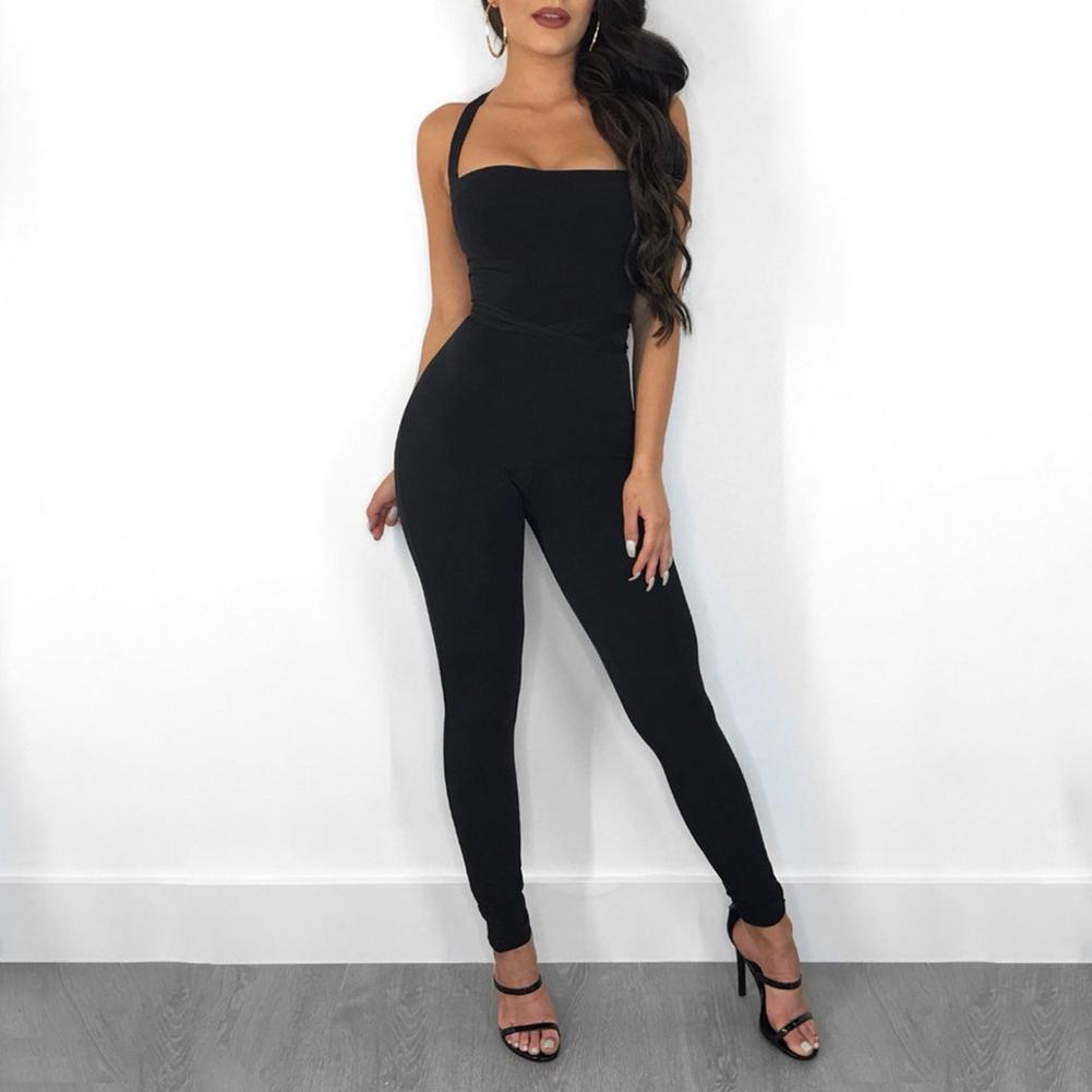 Nice Women Strappy Jumpsuit Backless Slim Fit Lifting Hips Solid Color Rompers For Summer 88