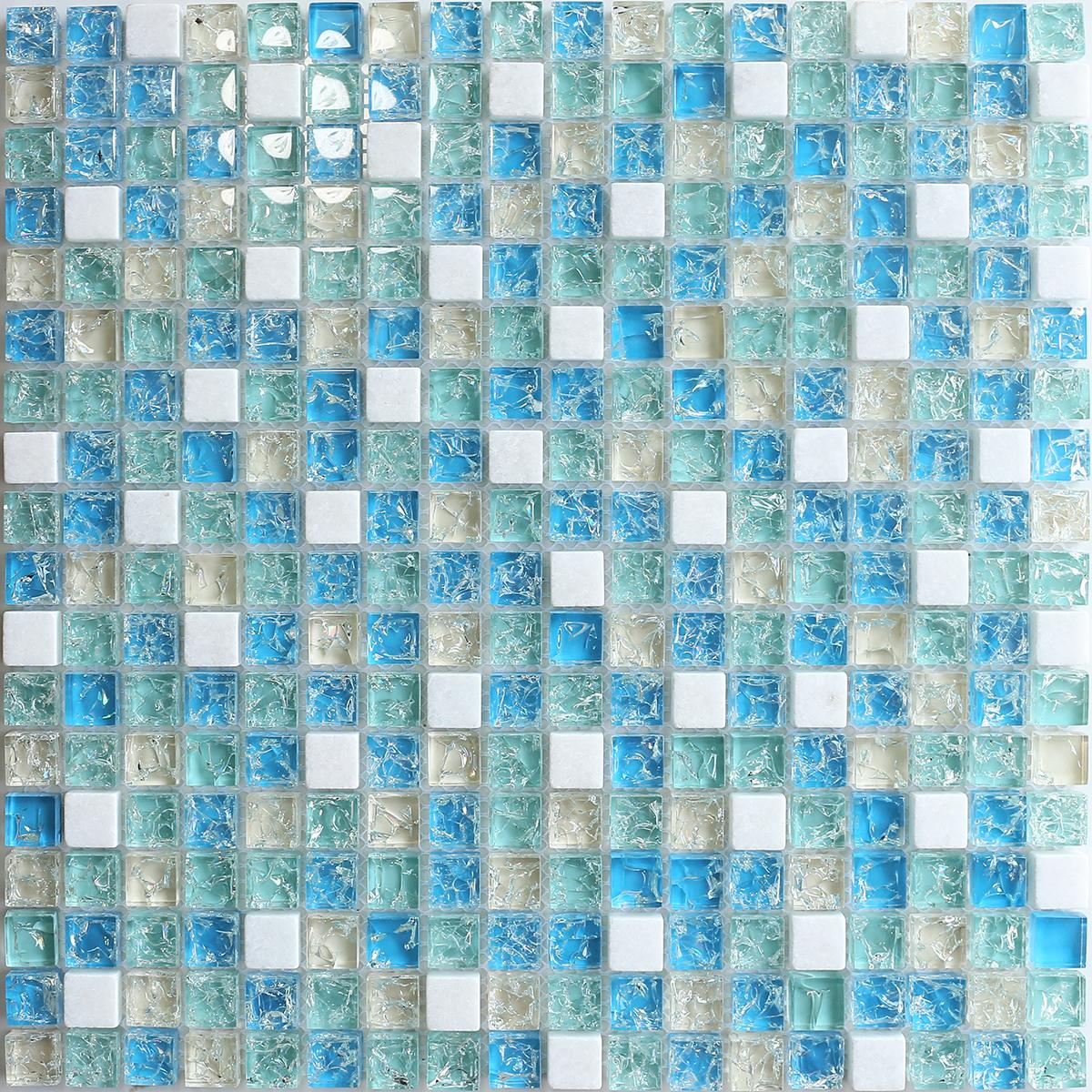 - 2020 Crystal Crackle Blue Gray Glass Mosaic Kitchen Backsplash