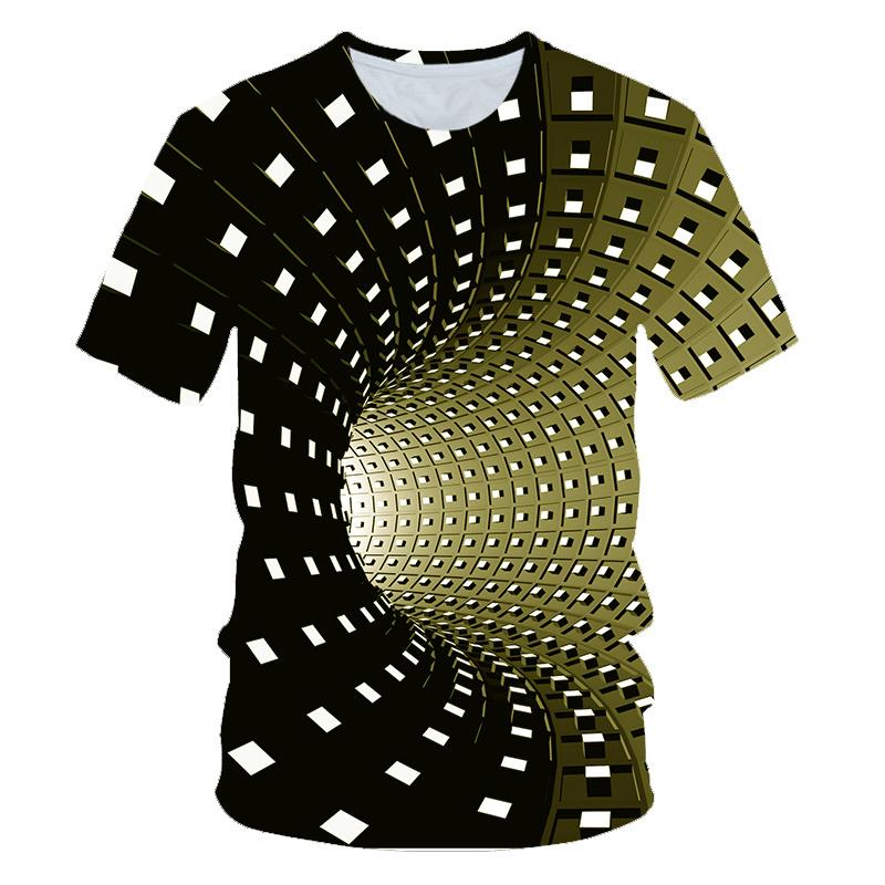 Personalized 3D visual vortex print children's round neck short-sleeved casual T-shirt summer sports boys and girls cool top Y200704