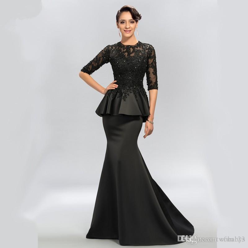 Vintage Siyah Mermaid Dantel Uzun Abiye Yarım Kollu Boncuklu scoop boyun uzun aplikler abiye balo elbise