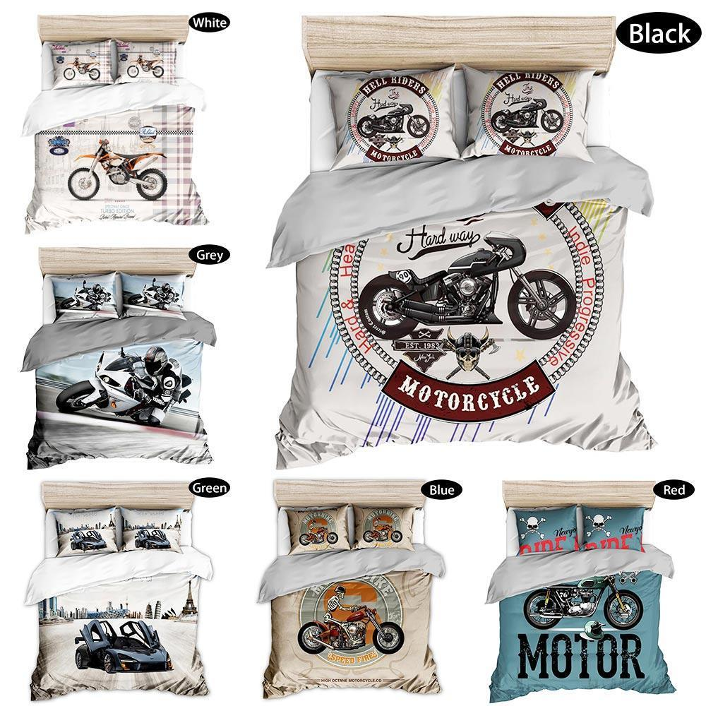 Fashion Motorcycle Print 3D Oil Bedding Sets 3PCS, Queen Full Size locomotive Print Boys Duvet Cover Boys Merry Chirstmas Gift