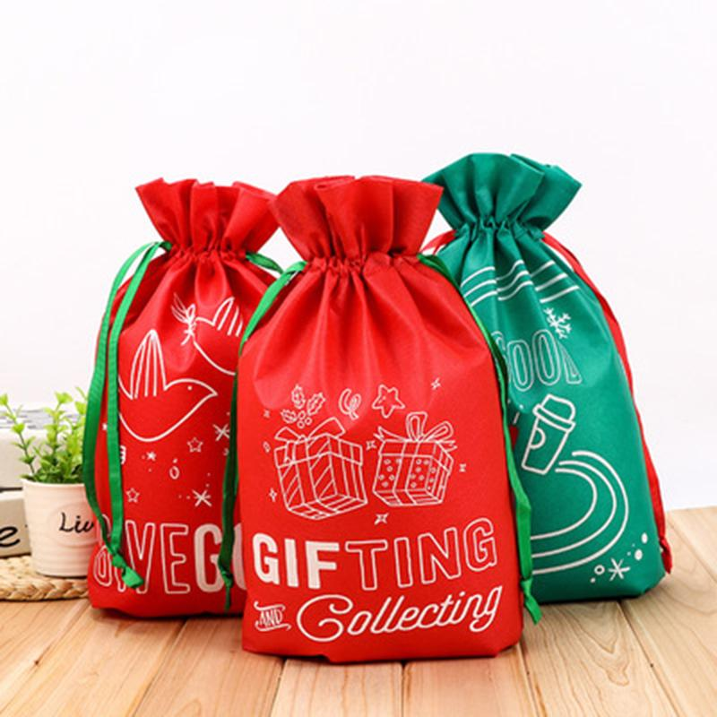 10Pcs Christmas Storage Bag Gift Candy Drawstring Packing Stocking Wrapping UK