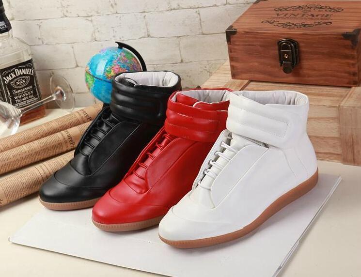 Margiela zapatos ocasionales del hombre futuros hombres del cuero genuino de moda los zapatos de los tops inferiores del rojo hombre zapatos planos de las zapatillas de deporte hombre alto top 31