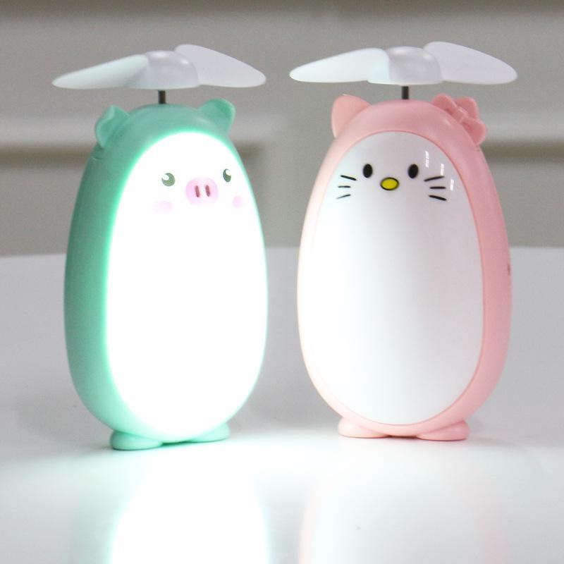 nova área de trabalho estéreo mini ventilador cat cartoon coreano com luz USB portátil cobrando fã DHL livre