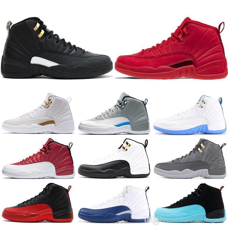 Mens Basketball 12s Shoes Gym Red Bulls Ovo Flu Jogo Bordeaux táxi o mestre cinza escuro Drake Sneakers 12 Homens Moda Esportes